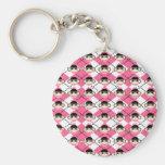 Pink Sock Monkeys on Pink White Argyle Diamond Basic Round Button Keychain