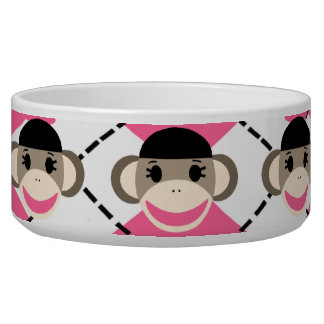 Pink Sock Monkeys on Pink White Argyle Diamond Bowl