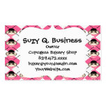 Pink Sock Monkeys on Pink White Argyle Diamond Business Card Templates