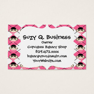 Pink Sock Monkeys on Pink White Argyle Diamond Business Card