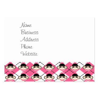 Pink Sock Monkeys on Pink White Argyle Diamond Large Business Cards (Pack Of 100)