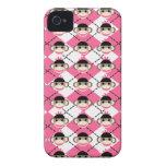 Pink Sock Monkeys on Pink White Argyle Diamond Case-Mate iPhone 4 Case
