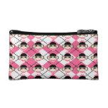 Pink Sock Monkeys on Pink White Argyle Diamond Cosmetic Bags