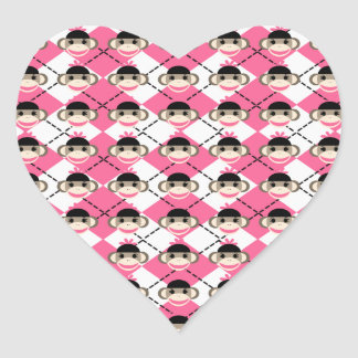 Pink Sock Monkeys on Pink White Argyle Diamond Heart Sticker