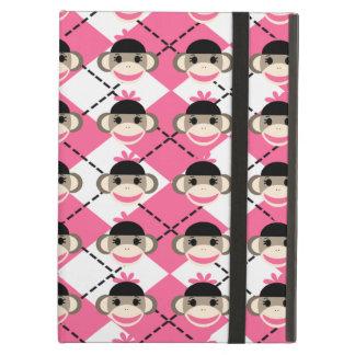 Pink Sock Monkeys on Pink White Argyle Diamond iPad Air Cover
