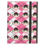 Pink Sock Monkeys on Pink White Argyle Diamond iPad Cover