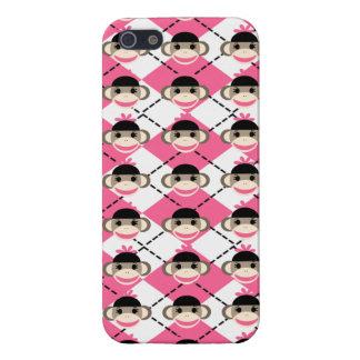 Pink Sock Monkeys on Pink White Argyle Diamond iPhone 5 Cover