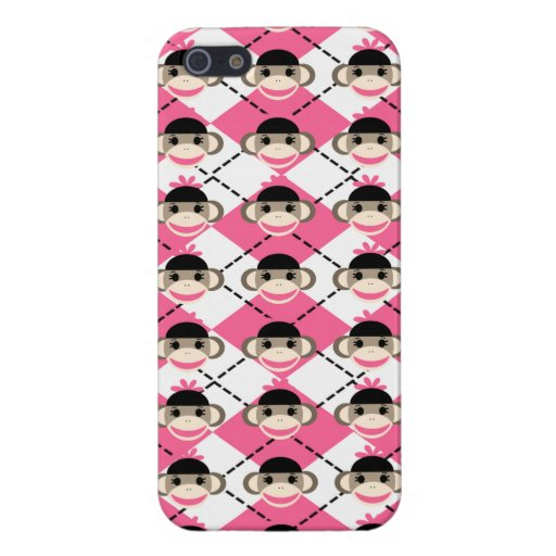 Pink Sock Monkeys on Pink White Argyle Diamond Cover For iPhone 5