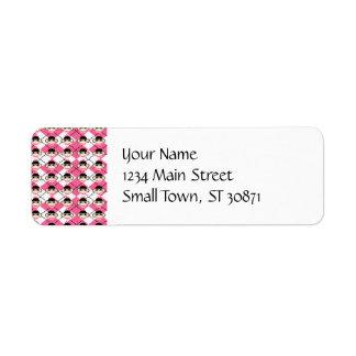Pink Sock Monkeys on Pink White Argyle Diamond Return Address Label