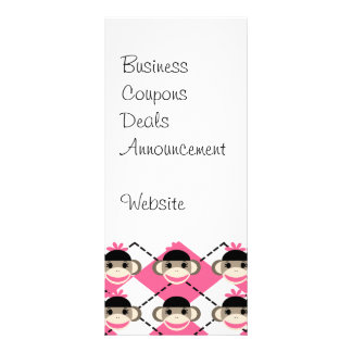 Pink Sock Monkeys on Pink White Argyle Diamond Customized Rack Card