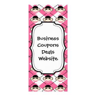 Pink Sock Monkeys on Pink White Argyle Diamond Rack Card Design