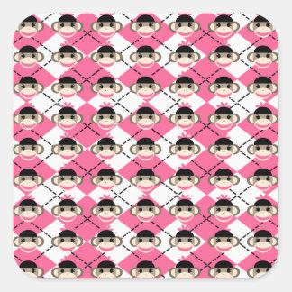 Pink Sock Monkeys on Pink White Argyle Diamond Square Sticker