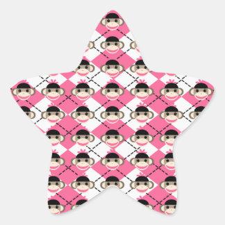 Pink Sock Monkeys on Pink White Argyle Diamond Star Sticker