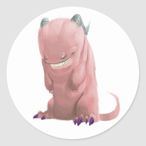 'pink sock monster' Stickers