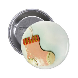 Pink Sock Ornament Pinback Button