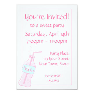 Pink Soda Party Personalized Invitation