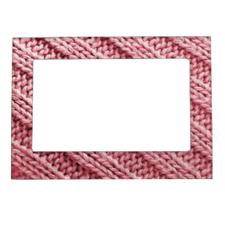 Pink soft knitted magnetic picture frame