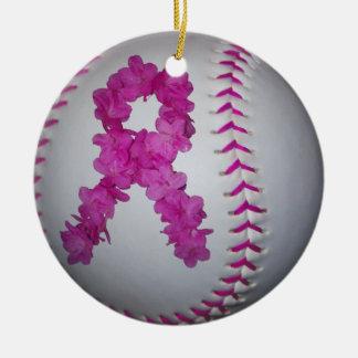 Pink Softball and Awareness Flower Ribbon Ceramic Ornament