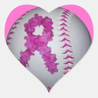 Pink Softball and Awareness Flower Ribbon Heart Sticker