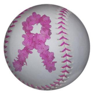 Pink Softball and Awareness Flower Ribbon Plate