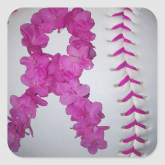 Pink Softball and Awareness Flower Ribbon Square Sticker