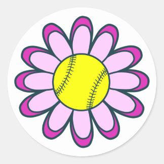 Pink Softball Girl Classic Round Sticker