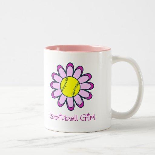 Pink Softball Girl Mugs