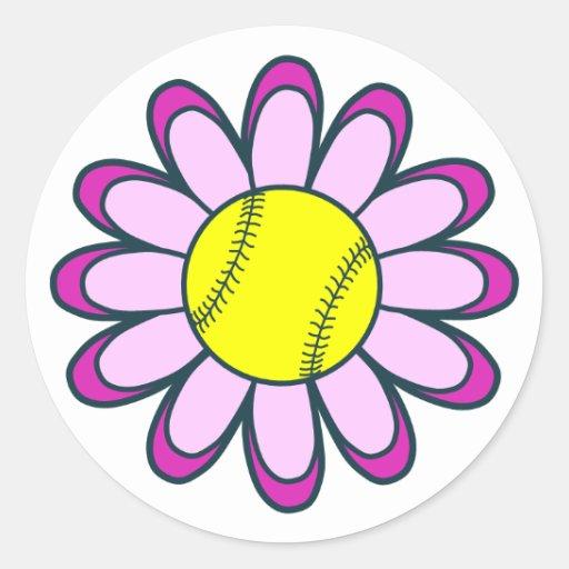 Pink Softball Girl Round Sticker