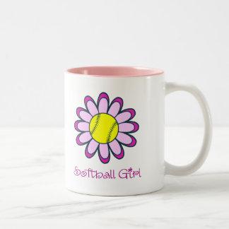 Pink Softball Girl Two-Tone Coffee Mug