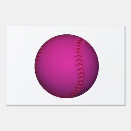 Pink Softball Lawn Sign