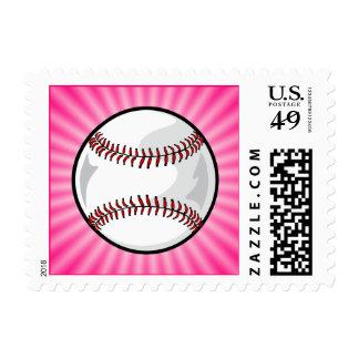 Pink Softball Postage Stamp