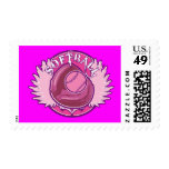 Pink Softball Postage Stamps