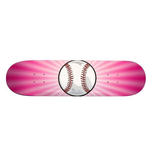 Pink Softball Skateboard Deck