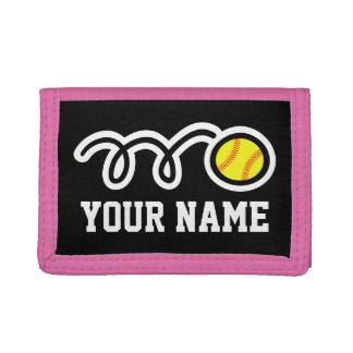 Pink softball wallet for girl | Sporty kids design