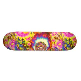 Pink solar sunflower fields skateboard