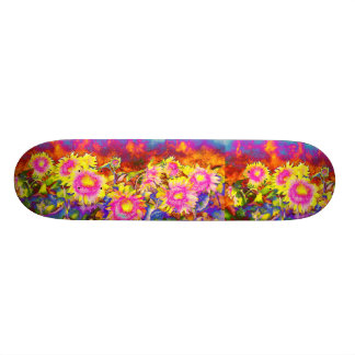 Pink solar sunflower fields skateboard deck