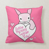 Pink Some Bunny Loves You Throw Pillow