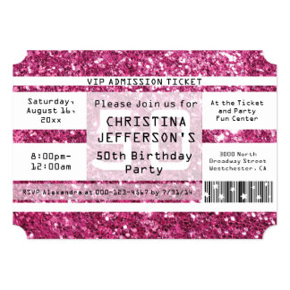 Pink Sparkle 50th Birthday Party Ticket Card