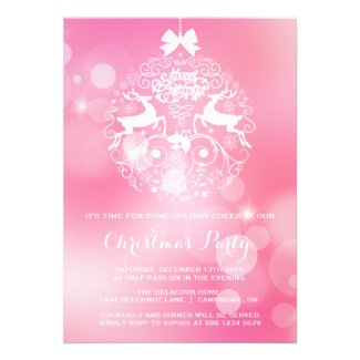 Pink Sparkle Bokeh Chic Christmas Party Invitation