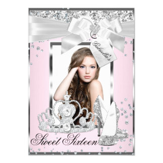 Pink Sparkle Bow Tiara Photo Sweet 16 Invitation