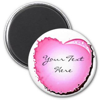Pink Sparkle Bubble Heart Refrigerator Magnet