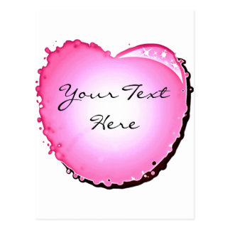 Pink Sparkle Bubble Heart Post Card