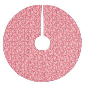 Pink Sparkle Cherry Blossoms Pattern Brushed Polyester Tree Skirt