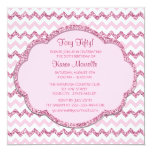 "Pink Sparkle Chevron Womans 50th Birthday Party 5.25"" Square Invitation Card"