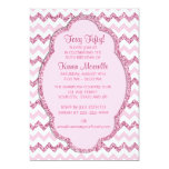 "Pink Sparkle Chevron Womans 50th Birthday Party 5"" X 7"" Invitation Card"