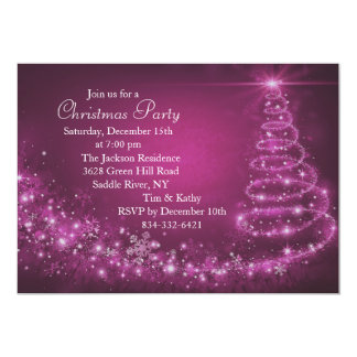 Pink Sparkle Christmas Tree Party Invitation