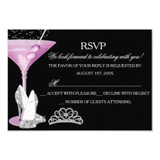 "Pink Sparkle Cocktail Bachelorette Party RSVP 3.5"" X 5"" Invitation Card"