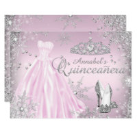 Pink Sparkle Dress Tiara Quinceanera Card