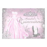 Pink Sparkle Dress Tiara Quinceanera Card