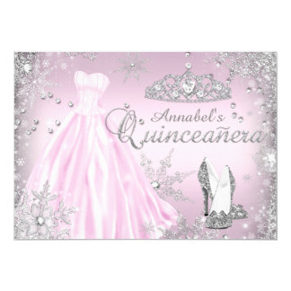 Pink Sparkle Dress & Tiara Quinceanera Invite